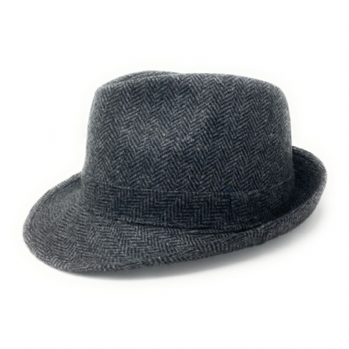 Grey Wool  Herringbone Tweed Trilby Hat - Winstone